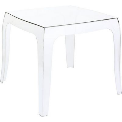Queen Polycarbonate Square side Table Transparent ISP065-TCL