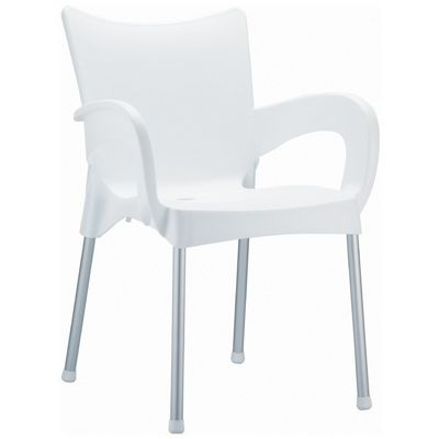 RJ Resin Outdoor Arm Chair White ISP043-WHI