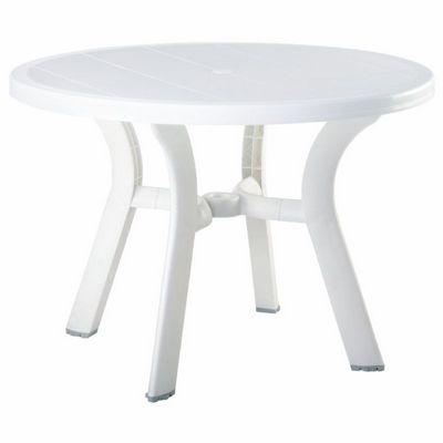 Truva Resin Outdoor Dining Table 42 inch Round White ISP146-WHI