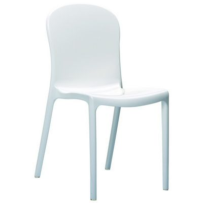 Victoria Glossy Plastic Outdoor Bistro Chair White ISP033