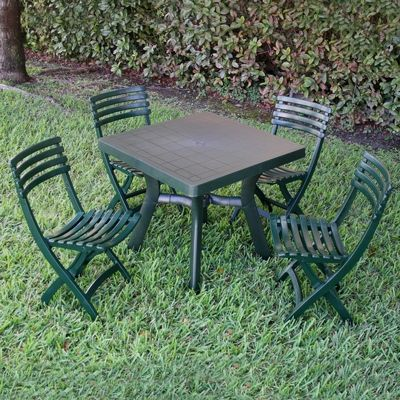Viva Resin Outdoor Dining Set Square 5 Piece Green ISPEVSQ5