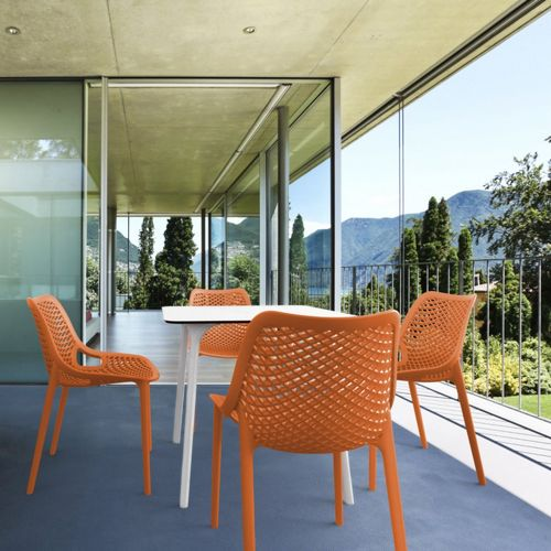 Air Maya Square Outdoor Dining Set With White Table And 4 Orange Chairs Isp6851s Whi Ora Cozydays