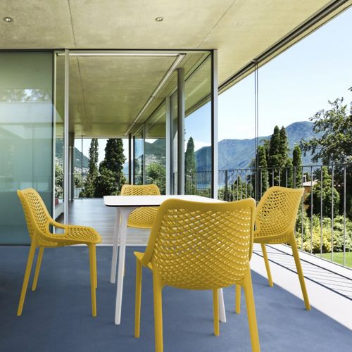 Air Maya Square Outdoor Dining Set with White Table and 4 Yellow Chairs ISP6851S-WHI-YEL