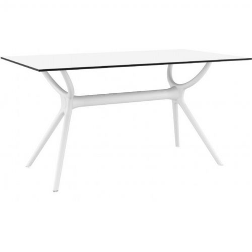 Air Rectangle Outdoor Dining Table 55 inch White ISP705-WHI