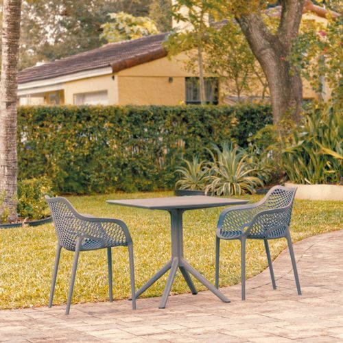 Air XL Patio Dining Set with 2 Arm Chairs Dark Gray ISP1062S-DGR