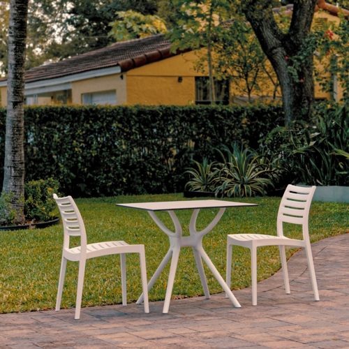 Ares Outdoor Dining Set with 2 Chairs White ISP7001S-WHI