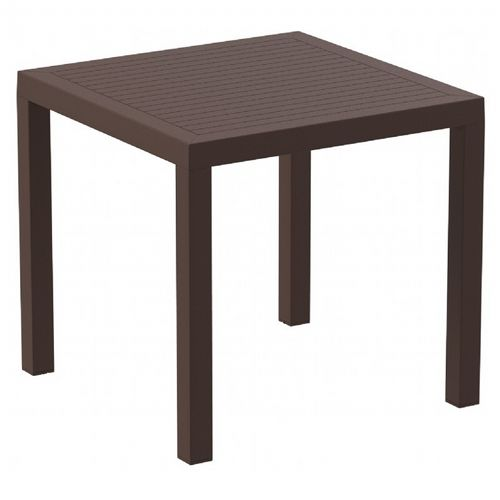Ares Resin Outdoor Dining Table 31 inch Square Brown ISP164-BRW