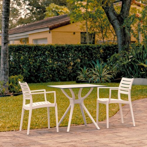 Artemis Outdoor Dining Set with 2 Arm Chairs White ISP7000S-WHI