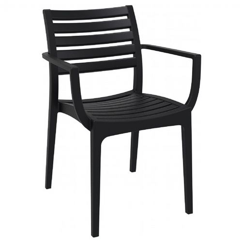 Artemis Resin Outdoor Dining Arm Chair Black ISP011-BLA