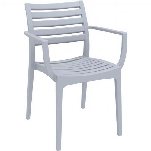 Artemis Resin Outdoor Dining Arm Chair Silver Gray ISP011-SIL