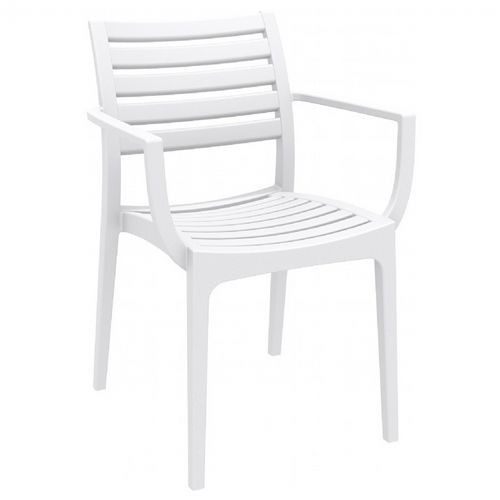 Artemis Resin Outdoor Dining Arm Chair White ISP011-WHI
