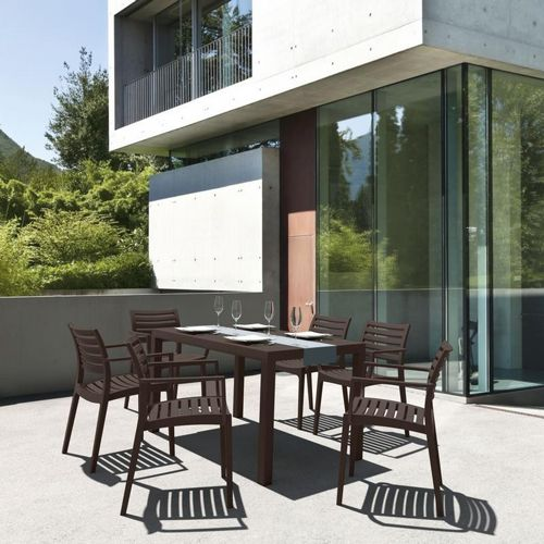 Artemis Resin Rectangle Outdoor Dining Set 7 Piece with Arm Chairs Brown ISP1862S-BRW