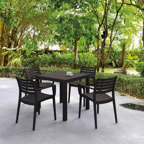 Artemis Resin Square Outdoor Dining Set 5 Piece with Arm Chairs Brown ISP1642S-BRW
