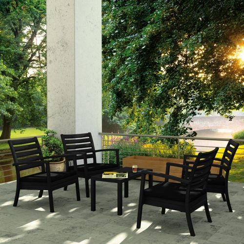 Artemis XL Outdoor Club Seating set 5 Piece Black with Black Cushion ISP004S5-BLA-CBL