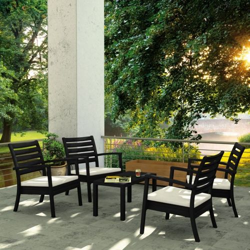Artemis XL Outdoor Club Seating set 5 Piece Black with Sunbrella Natural Cushion ISP004S5-BLA-CNA