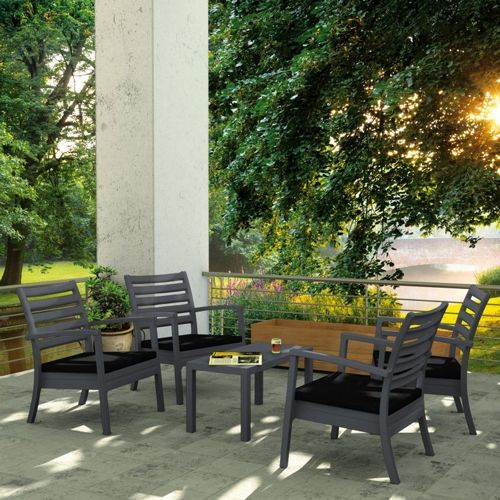 Artemis XL Outdoor Club Seating set 5 Piece Dark Gray with Black Cushion ISP004S5-DGR-CBL