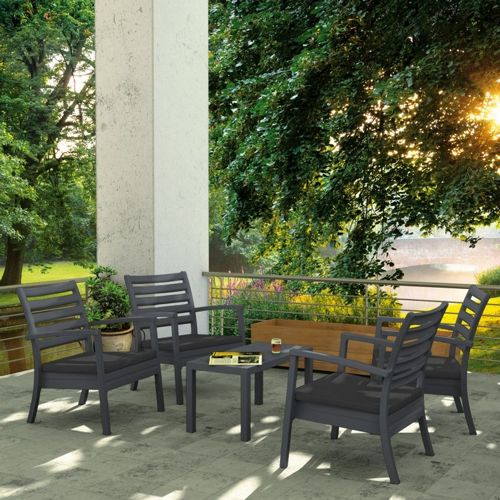 Artemis XL Outdoor Club Seating set 5 Piece Dark Gray with Sunbrella Charcoal Cushion ISP004S5-DGR-CCH