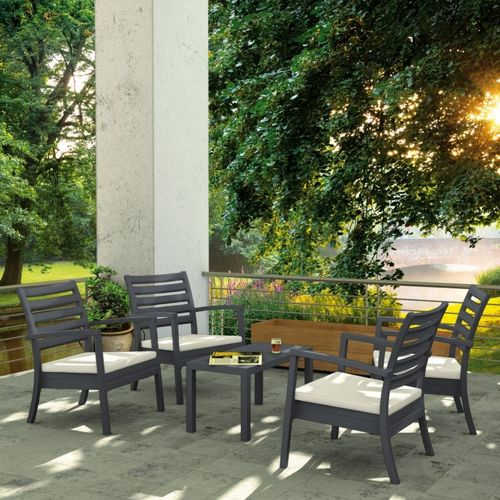 Artemis XL Outdoor Club Seating set 5 Piece Dark Gray with Sunbrella Natural Cushion ISP004S5-DGR-CNA