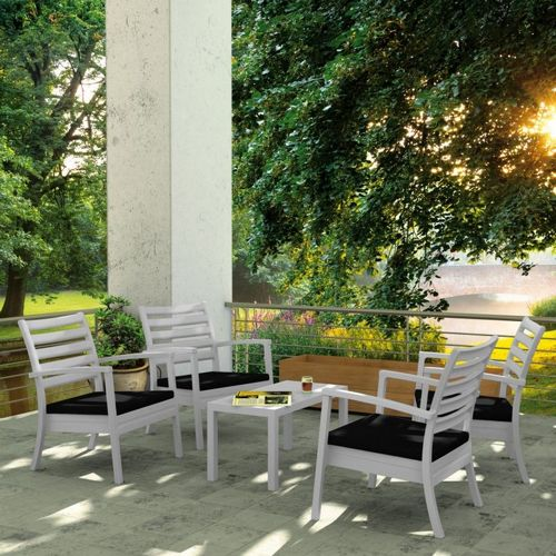 Artemis XL Outdoor Club Seating set 5 Piece Silver Gray with Sunbrella Black Cushion ISP004S5-SIL-CBL