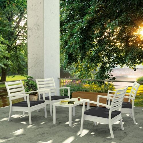 Artemis XL Outdoor Club Seating set 5 Piece White with Sunbrella Charcoal Cushion ISP004S5-WHI-CCH