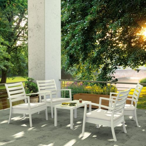 Artemis XL Outdoor Club Seating set 5 Piece White with Sunbrella Natural Cushion ISP004S5-WHI-CNA