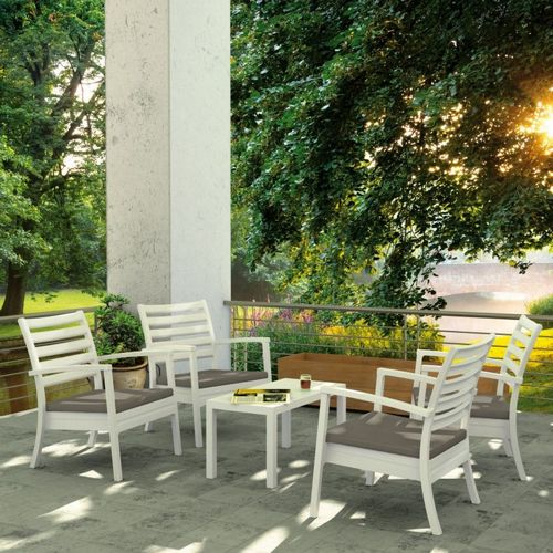 Artemis XL Outdoor Club Seating set 5 Piece White with Taupe Cushion ISP004S5-WHI-CTA