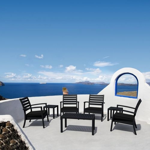 Artemis XL Outdoor Club Seating set 7 Piece Black with Black Cushion ISP004S7-BLA-CBL