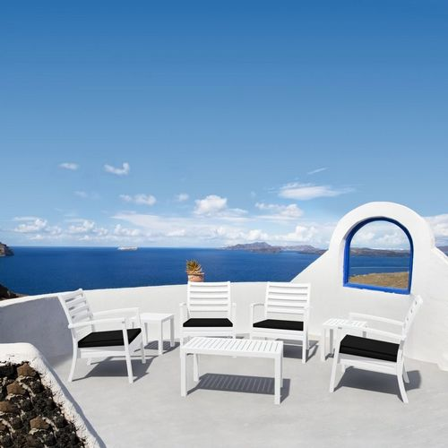 Artemis XL Outdoor Club Seating set 7 Piece White with Black Cushion ISP004S7-WHI-CBL