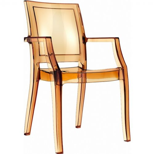 Arthur Transparent Polycarbonate Arm Chair Amber ISP053-TAMB