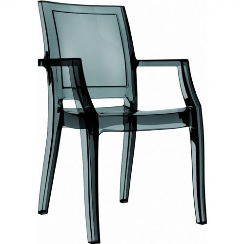 Arthur Transparent Polycarbonate Arm Chair Black ISP053-TBLA