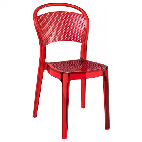 Bee Polycarbonate Dining Chair Transparent Red ISP021-TRED
