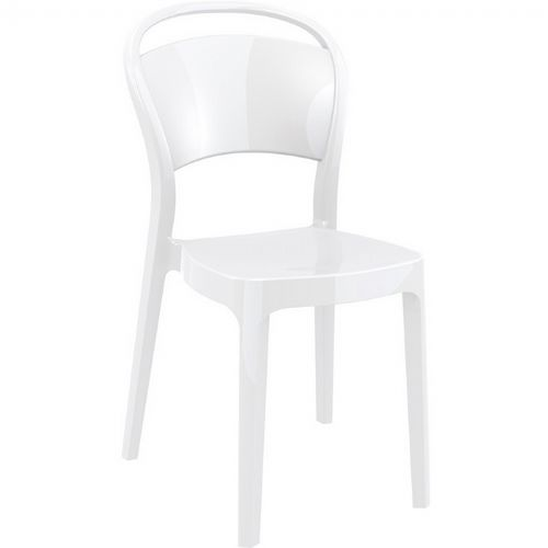 Bo Polycarbonate Dining Chair Glossy White ISP005-GWHI