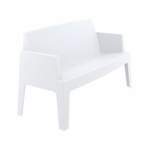 Box Outdoor Bench Sofa White ISP063-WHI