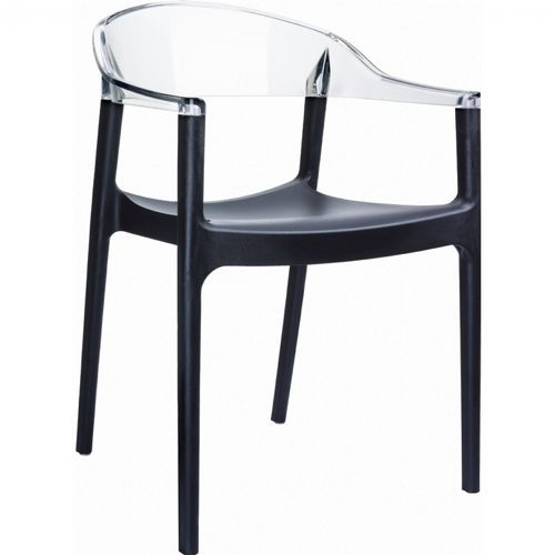 Carmen Dining Armchair Black with Transparent Back ISP059-BLA-TCL