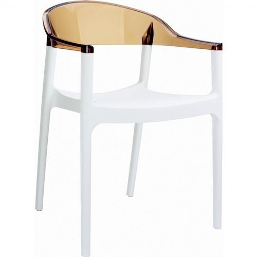 Carmen Dining Armchair White with Transparent Amber Back ISP059-WHI-TAMB