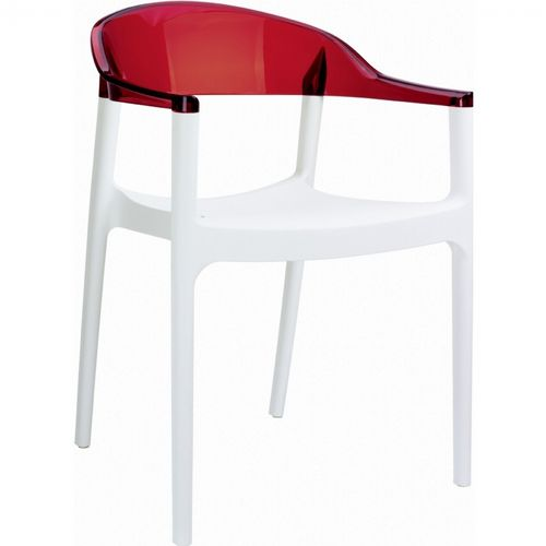 Carmen Dining Armchair White with Transparent Red Back ISP059-WHI-TRED