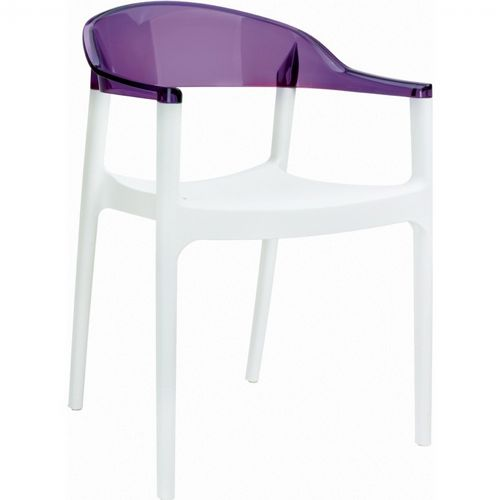 Carmen Dining Armchair White with Transparent Violet Back ISP059-WHI-TVIO