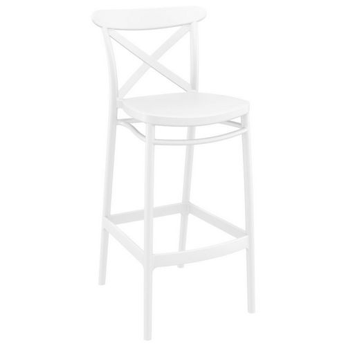 Cross Outdoor Bar Stool White ISP266-WHI