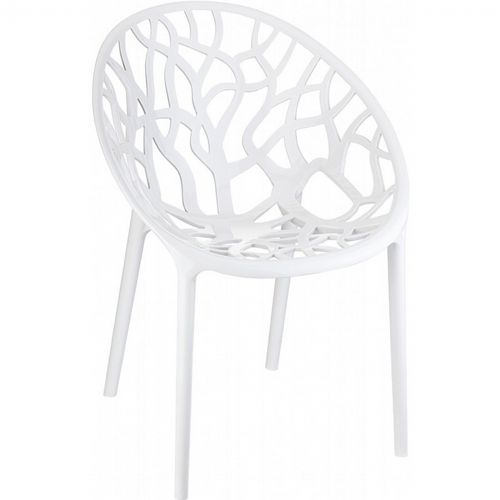 Crystal Outdoor Dining Chair Glossy White ISP052-GWHI