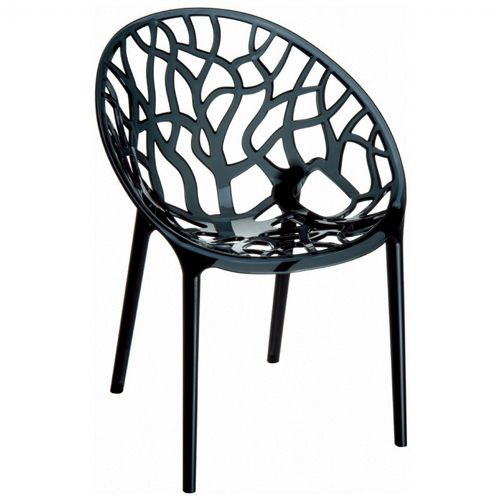 Crystal Outdoor Dining Chair Transparent Black ISP052-TBLA