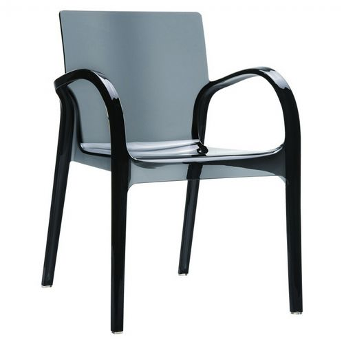 Dejavu Clear Plastic Outdoor Arm Chair Black ISP032-TBLA