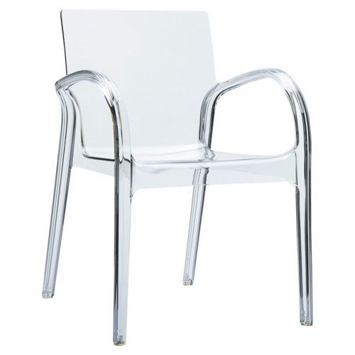 Dejavu Clear Plastic Outdoor Arm Chair ISP032-TCL