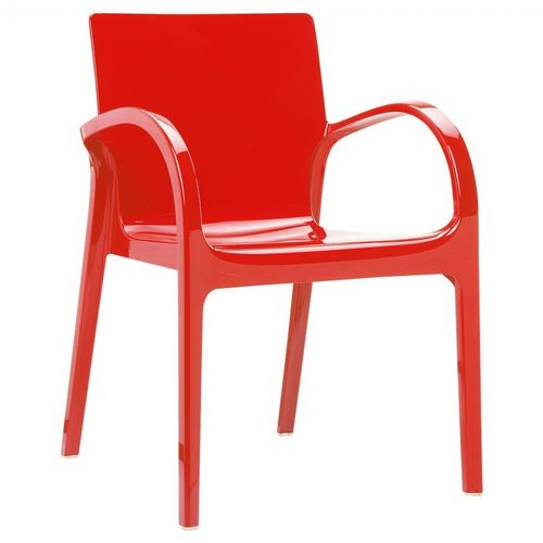 Dejavu Glossy Plastic Outdoor Arm Chair Red ISP032-GRED