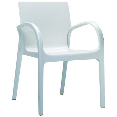 Dejavu Glossy Plastic Outdoor Arm Chair White ISP032-GWHI