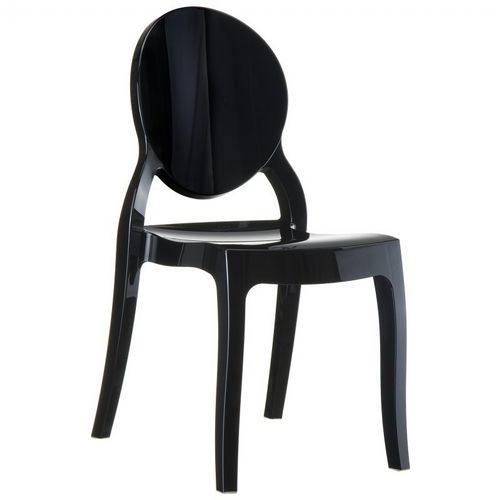 Elizabeth Glossy Polycarbonate Outdoor Bistro Chair Black ISP034-GBLA