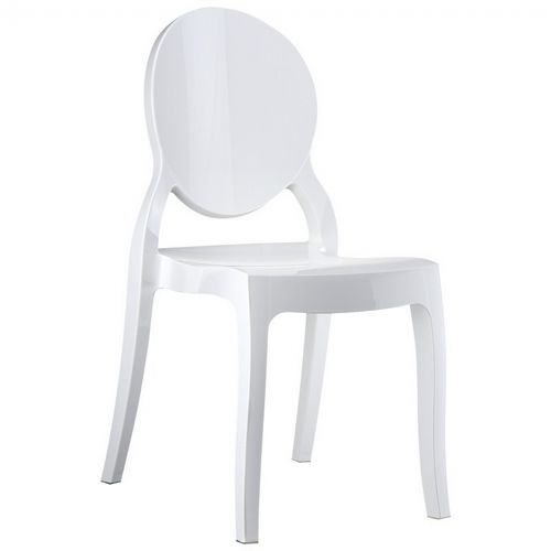 Elizabeth Glossy Polycarbonate Outdoor Bistro Chair White ISP034-GWHI