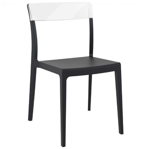 Flash Dining Chair Black with Transparent Clear ISP091-BLA-TCL