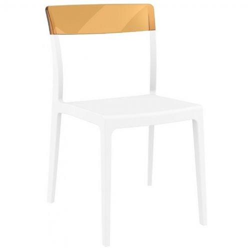 Flash Dining Chair White with Transparent Amber ISP091-WHI-TAMB