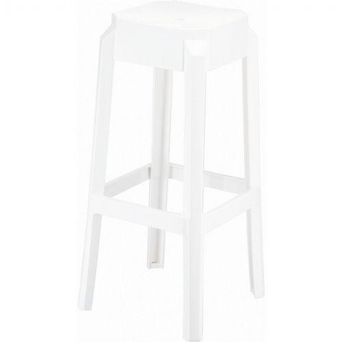 Fox Polycarbonate Outdoor Barstool Glossy White ISP037-GWHI