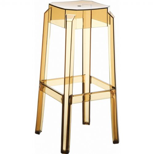 Fox Polycarbonate Outdoor Barstool Transparent Amber ISP037-TAMB